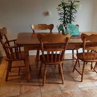 SOLID WOOD KITCHEN SET WITH SIX CHAIRS