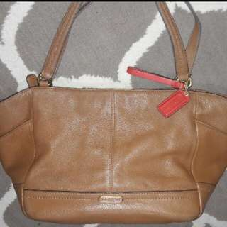 Coach Ava Pebble Leather Saddle Brown Tote Bag