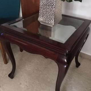 Solid Wooden Glass Table