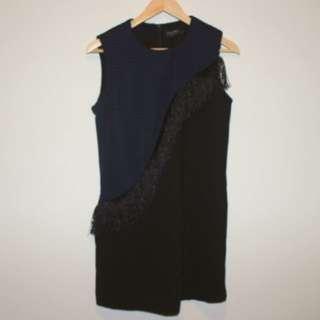 Zalora Premium Fringe Detail Dress in Navy / Black Sz M 10-12