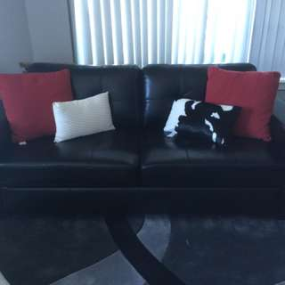 Black Leather Couch With 4 Free Pillows