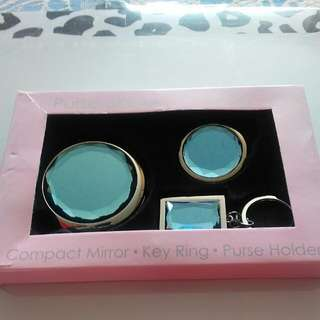 Compact Mirror Key Ring Purse Holder