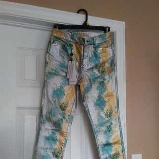 "Girls Multi Marine Color Shiny Pants Slim Fit Size 25/ ""32"