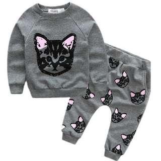 Baby  Clothes Sets Cotton Cute Cat Suit + Pants