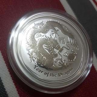 2012 Year Of The Dragon Australia Silver Coin 1/2 Ounce O.9999 Silver Coin