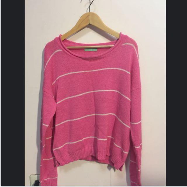 降!粉紅條紋針織薄長袖上衣-9.5成新
