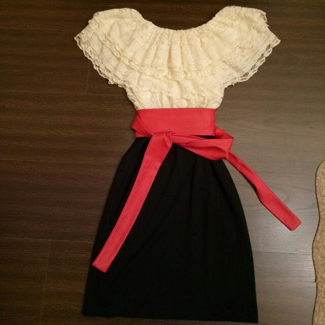 韓版一字領洋裝