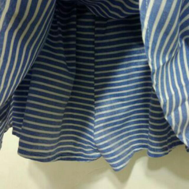 假兩件條紋襯衫綁腰褲裙