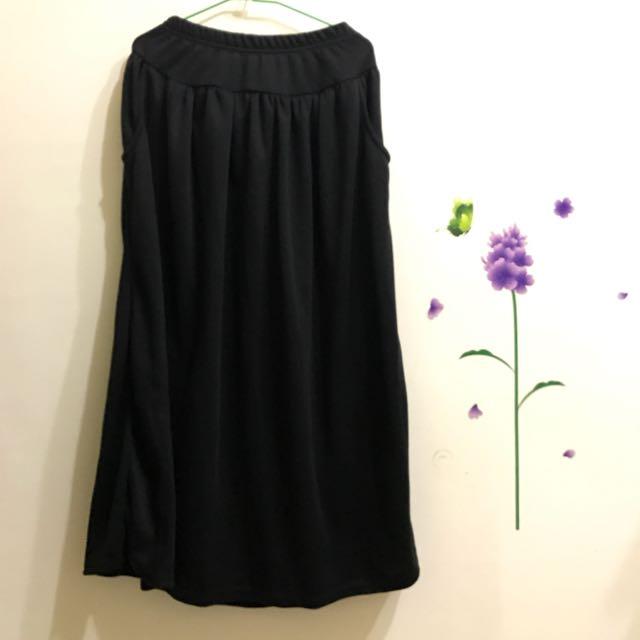 黑色棉長裙