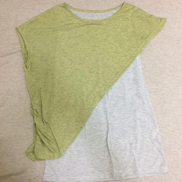果綠色造型剪裁棉質上衣