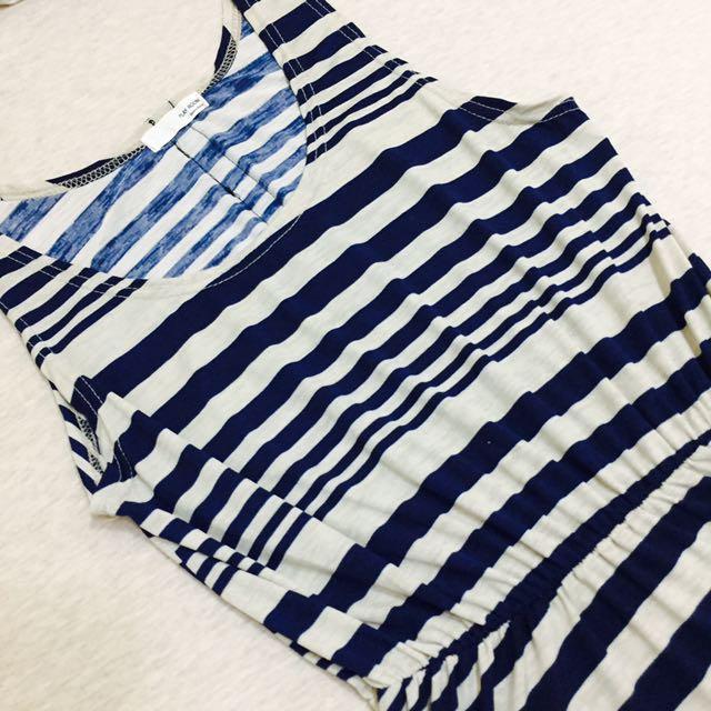 雪紡深藍條紋背心洋裝