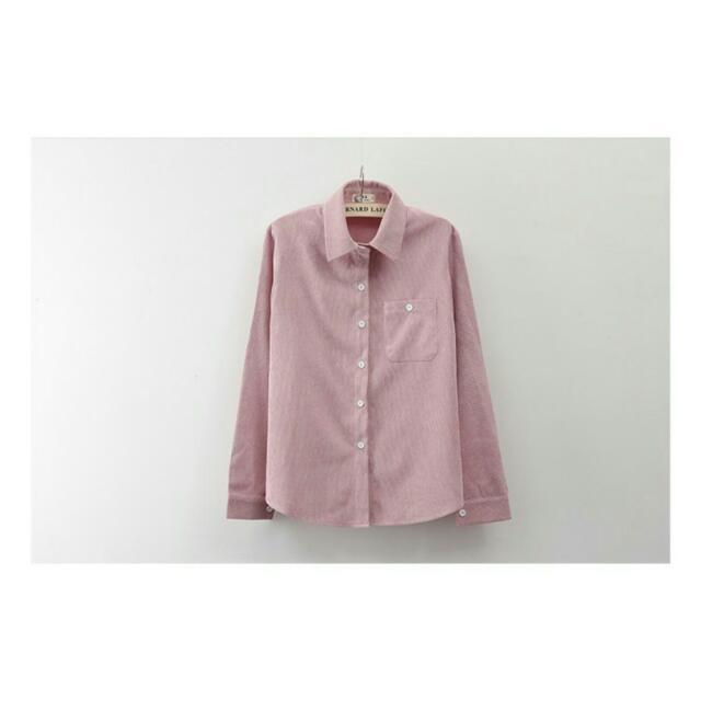 燈芯絨襯衫 皮粉色