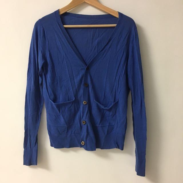 藍色 針織外套 80%new