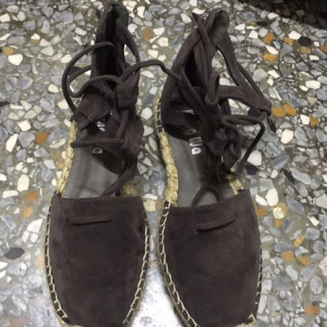 草編 麂皮  綁帶 涼鞋