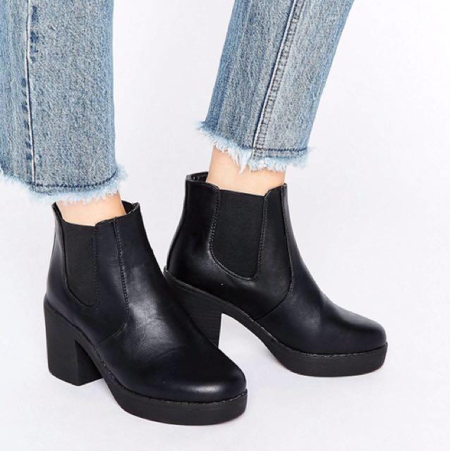 全新 ASOS 切爾西靴 鬆緊帶 厚底鞋 踝靴 Truffle Chunky Heeled Chelsea Boots