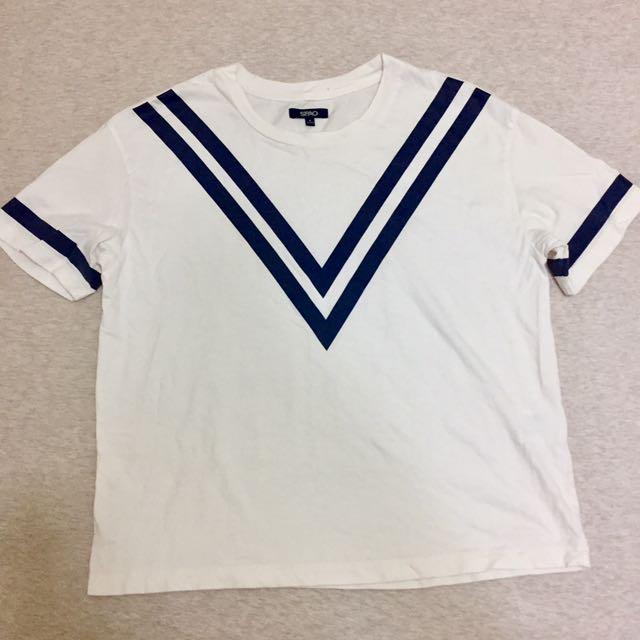 韓國 SPAO 米白棉質線條上衣