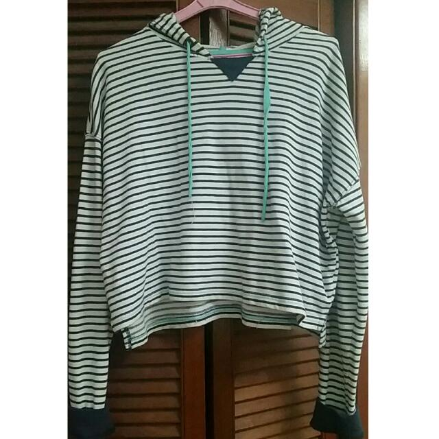 Aeropostale White Oversized Hoodie With Dark Blue Stripes