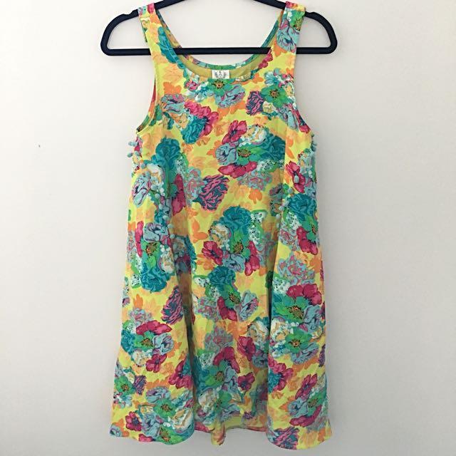 Angel Biba Pom Pom Floral Dress