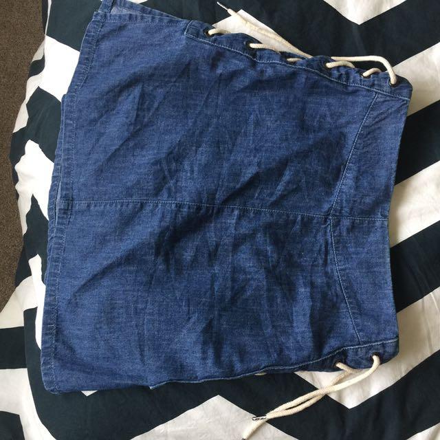 ASOS A-line Tie Up Denim Skirt