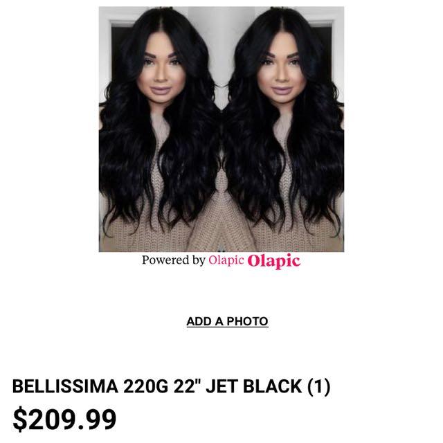 Bellamy Hair Extensions - Jet Black 22 Inch Bellisima