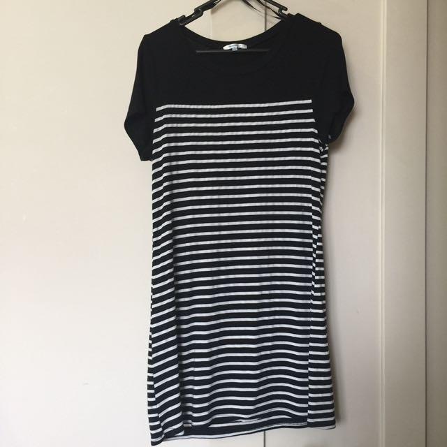 Black & White Striped Tshirt Dress