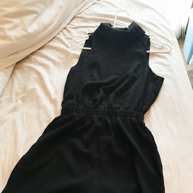 Black High Neck Play suit With Open Back