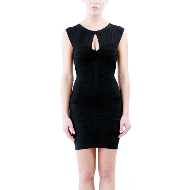 Black Key Hole Bandage Dress