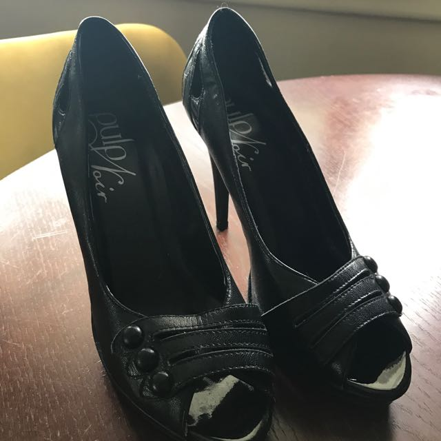 Black Pulp Noir Peep Toe Heels From Hannah's
