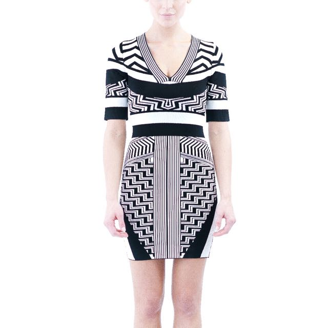 Black/white Long Sleeve Bandage Dress