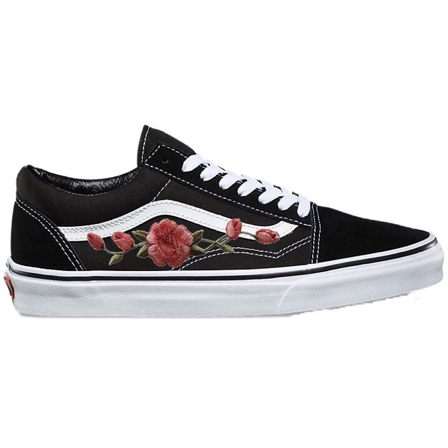 authentic vans classic old skool with custom rose embroidery