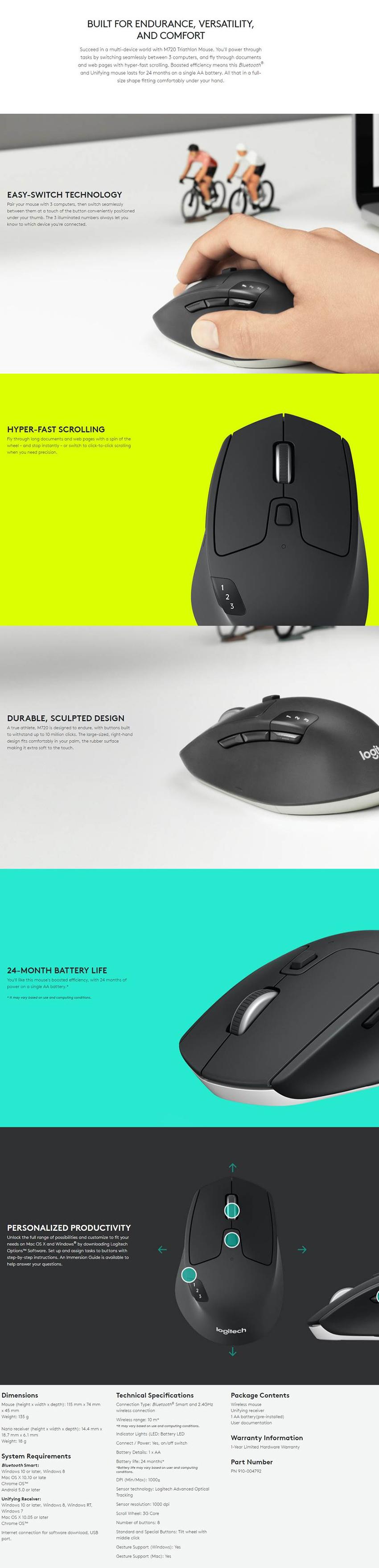 [BNIB] Logitech M720 Triathlon Multi-Computer Mouse