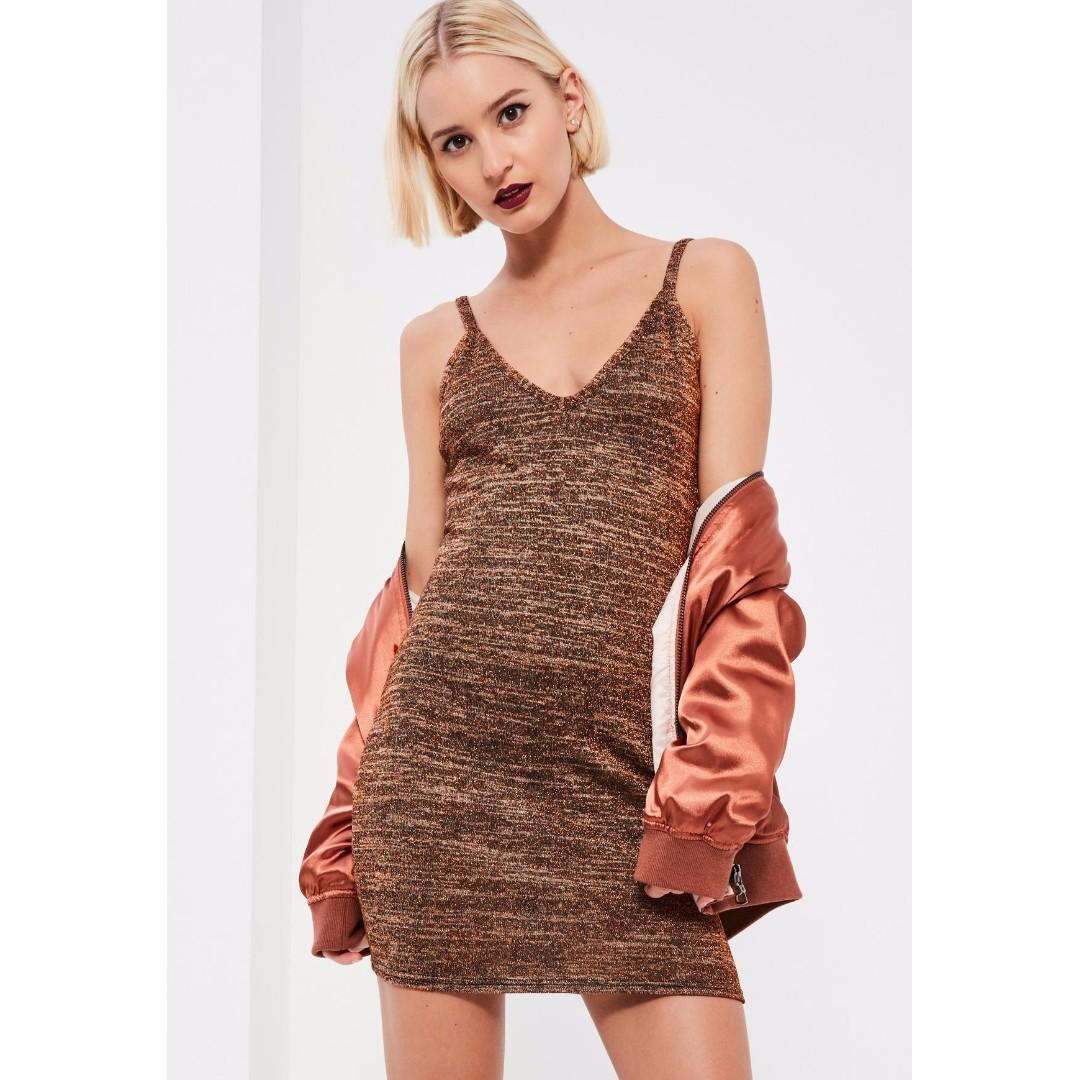 Bronze metallic strappy dress - size 8