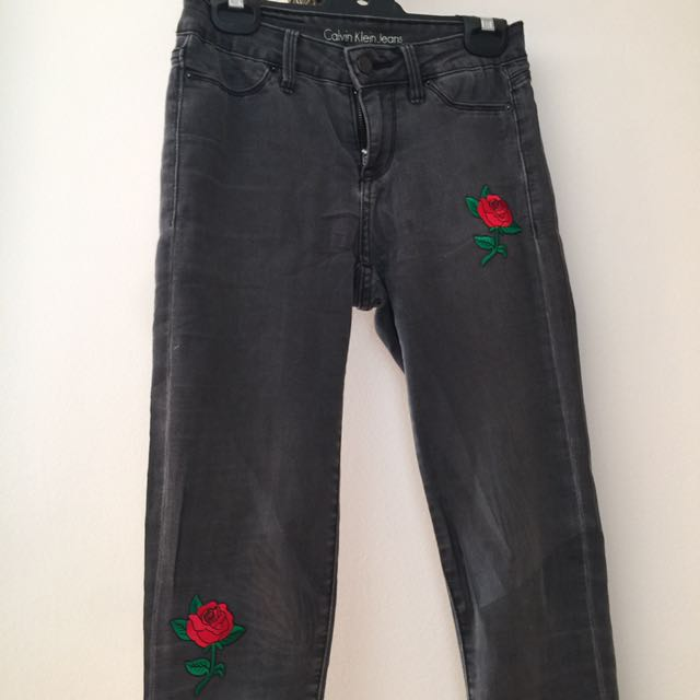 Calvin Klein Black Jeans With Red Rose detailing