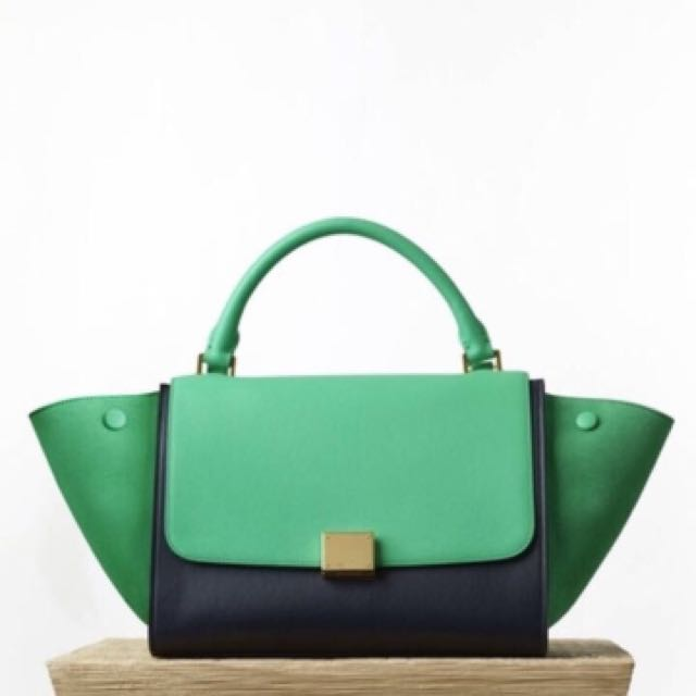 aa57c4660580 Celine Small Trapeze in Green and Deep Blue