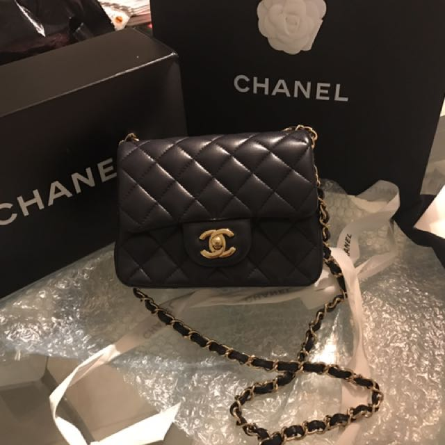 Chanel Navy Square Mini GHW