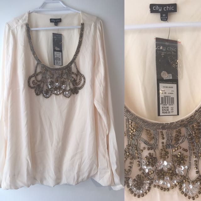 City Chic Plus Size Xs White Blouse