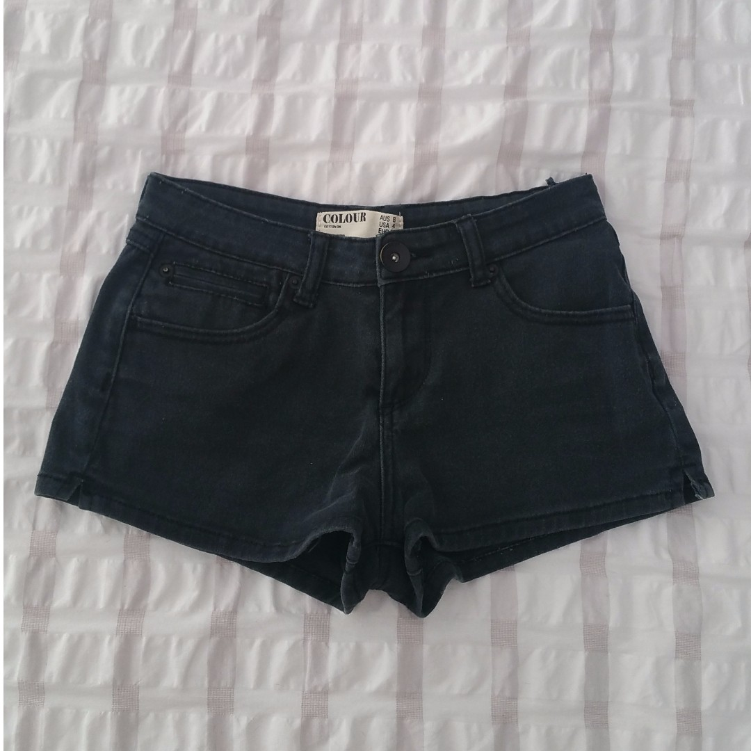 Cotton On black wash denim mini shorts