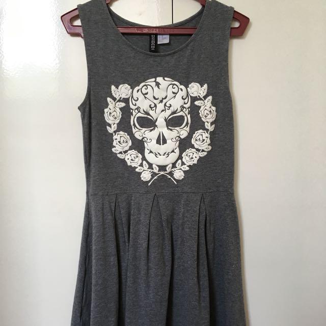 F21 Gray Skull Dress - Xs To S