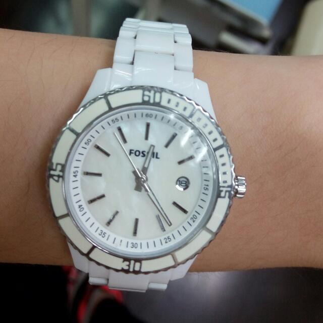 Fossil白色金屬手錶