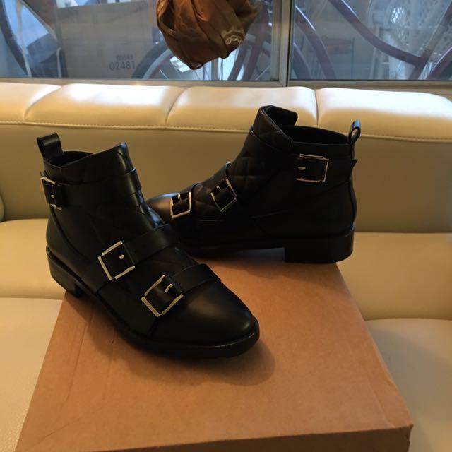 Geniuine Leather Zara Triple Monk Strap Booties
