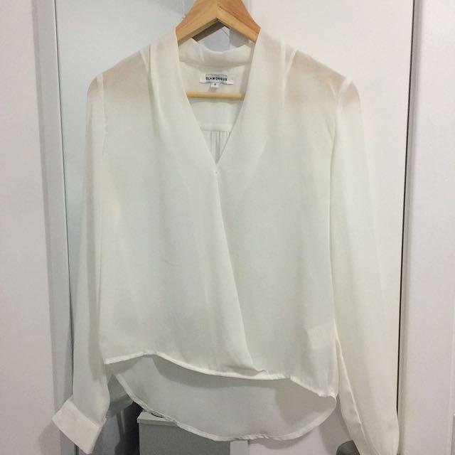 Glamorous White Crossover Blouse Shirt