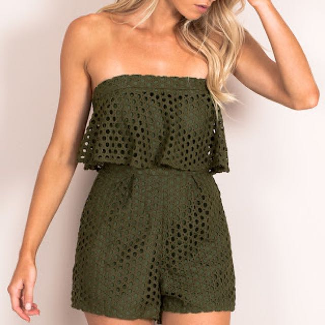 Green playsuit Size 6
