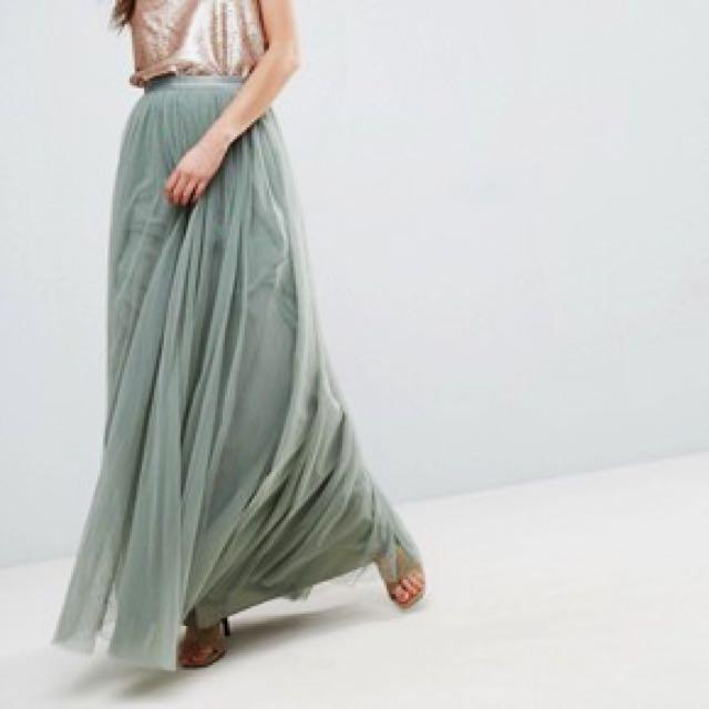 Green Tulle Maxi Skirt