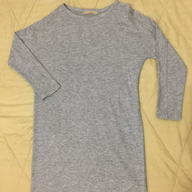 Grey Long sleeve Shirt-dress