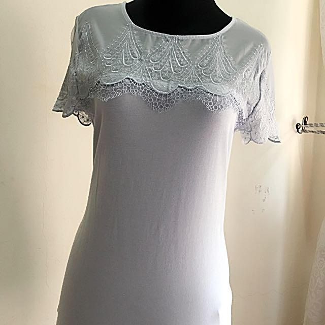 H&M Lacey Mesh Top In Pastel Blue