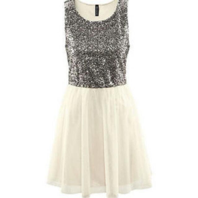 b04700f0a69 H m Tulle White Cream Sequinned Sequin Shiny Dress Formal Casual ...
