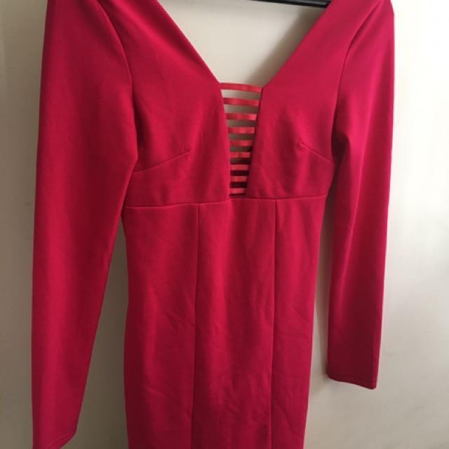 Hot Pink Lace Dress Size 8