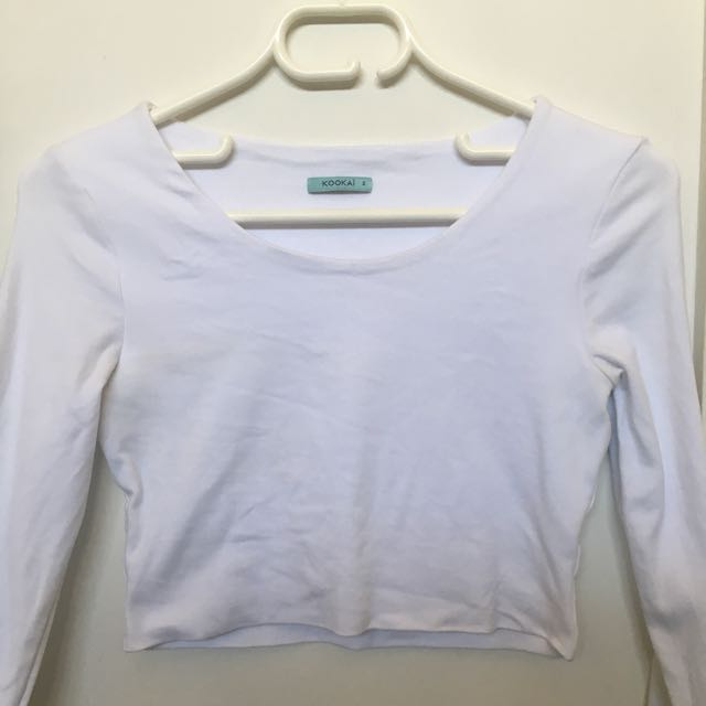 Kookai White Cropped Long-sleeve Too
