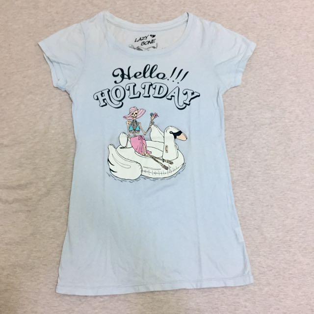 Lazybone淺藍短袖棉質T-shirt