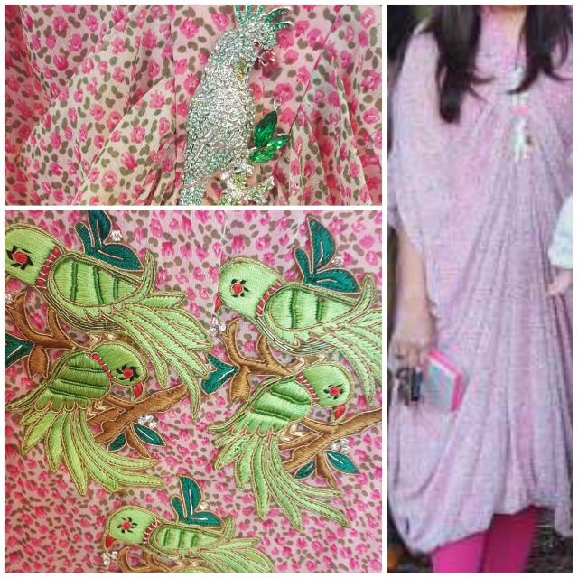Light Pink Printed Beautiful Kaftan